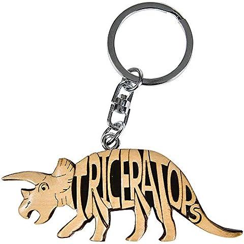 Diseño de Triceratops palabra Rhode Island de madera llavero con muñeca
