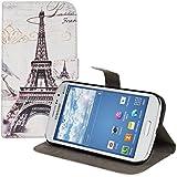kwmobile Funda para Samsung Galaxy Grand Neo / Duos - Wallet Case plegable de cuero sintético - Cover con tapa tarjetero y soporte Diseño Torre Eiffel en negro blanco