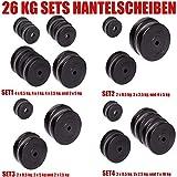 C.P. Sports Hantelscheiben 30/31 mm 26 KG, 30 KG und 52 KG Set, Hantelscheiben Set, Kunststoff, Krafttraining, Fitness, Bodybuilding, Bumper Plates (26 KG - Set 1)