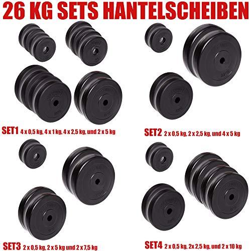 C.P. Sports Hantelscheiben 30/31 mm 26 KG, 30 KG und 52 KG Set, Hantelscheiben Set, Kunststoff, Krafttraining, Fitness, Bodybuilding, Bumper Plates (26 KG - Set 2)