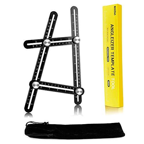 Multi-Winkel-Messlineal - MAOZUA verbesserte Aluminium-Legierung Angleizer Vorlage Werkzeug mit geätzten Skala ideal für Ingenieure, Bauherren, Tischler, Fliesenleger und DIY verwenden