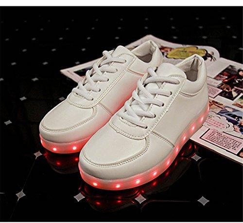 Laufschuhe Nik Loveso USB Lade LED Blinkende Leuchtende Sportschuhe Sneakers  Weiß
