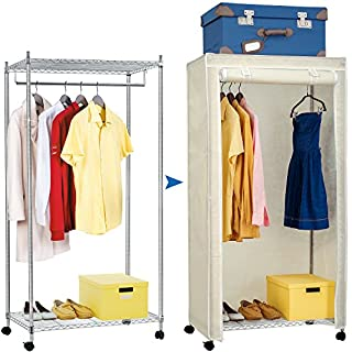 Artmoon Buffalo Heavy Duty Steel Wardrobe with Wheels, Heavy Duty Clothes Rail with 2 Extra Storage Shelves and Fabric Cover