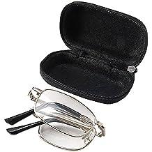 LEORX Lectura plegable antifatiga clara visión gafas gafas de + 1.50 con funda protectora