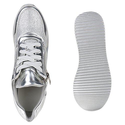 Stiefelparadies Damen Sneaker Wedges Sportschuhe Schnürer Glitzer Turnschuhe Keilabsatz Schuhe Karneval 90er Kostüm Fasching Aerobic Girl Flandell Silber Reißverschluss