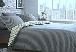 Vert Racing Housse de couette Denim Bleu naturel/rayé Taille Lit Simple Réversible pour lit Hallways®