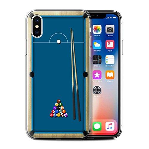 Stuff4 Gel TPU Hülle / Case für Apple iPhone X/10 / Pack 6pcs / Spiele Kollektion Billard Blau