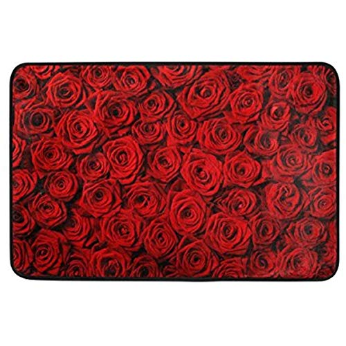 Rosa Flower Carpet Rose (CehTureal Area Rugs 23.6x15.7 inch Soft Non-Slip Floor Mats Red Flower Roses no Pilling and Fading Doormat Carpet for Bedroom Decoration)