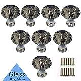 Tencro 8Pcs 30mm en forme de diamant en cristal de luxe boutons boutons en verre avec des vis pour porte de tiroir, porte de garde-robe, porte de placard, cuisine, etc - gris