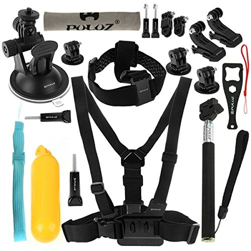 PULUZ 20 in 1 Accessories Combo Kit (Chest Strap + Head Strap + Suction Cup (20 In 1 Kit)
