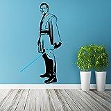 (63x 120cm) Star Wars Vinyl Wand Aufkleber/Obi Wan Kenobi mit Blau Lichtschwert die cut/Bereit für Schlacht Decor Sticker Selbstklebend + Gratis Aufkleber Geschenk macht.