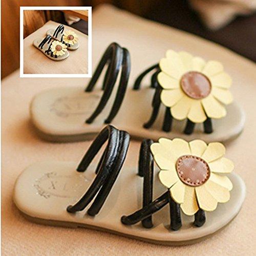 Sandales Fille Plates Fleur Chaussure Enfant Cuir Bout Ouvert Chaussures Plage Summer Party Noir