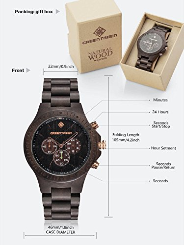 GREENTREEN Men's Multifunction Chronograph Watches Ebony Wooden Watches For Mens with 5ATM Water Resistant