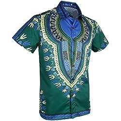MagiDeal Camisa Étnica Playa Vacaciones Hombres Africana Lujo Despedidas de Soltero - Multicolor 12, 2XL