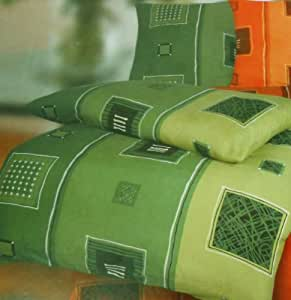 Parure de lit 2 pièces 135 x 200 cm 80 x 40 cm tissus de coton solide en linon à motifs vert)