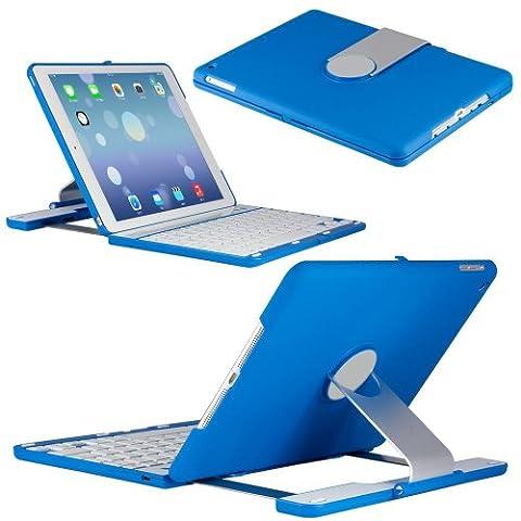 kvago Clavier Étui à clapet rotatif à 360° avec support pivotant pour iPad Air 2(iPad 6) sans fil Bluetooth clavier coque à rabat Housse de transport portable type Bleu -