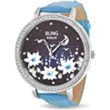 Bling Jewelry Womens Green Leather Night Sky Flower Stainless Steel Back Watch