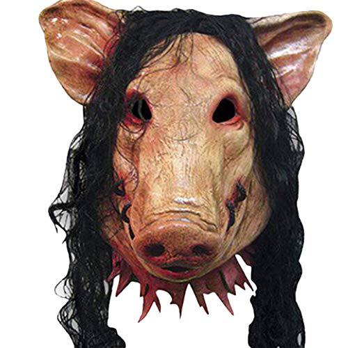 Kostüm Schweinekopf - MoGist Halloween Maske Horror Perücke Simulation Schweinekopf Modellierung Latex Maske Halloween Cosplay Partei Fasching Karneval Kostüm Zubehör