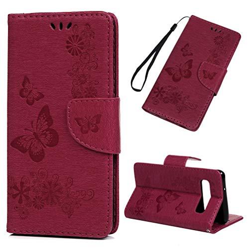 Hülle für Samsung Galaxy S10, Schmetterling S10 Handyhülle Leder PU Cover Magnet Flip Case Schutzhülle Kartensteckplätzen und Ständer Schutzhülle Ledertasche Skin Handytasche Rose rot