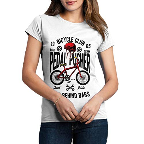 C411WCNTW Damen T-Shirt Pedal Pusher Bikes Racing Team Club Shop Born to Ride Pedal Pusher Full Speed Legend Classic(Small,White) -