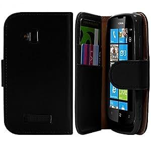 Seluxion - Housse Coque Etui Portefeuille pour Nokia Lumia 610 Couleur Noir