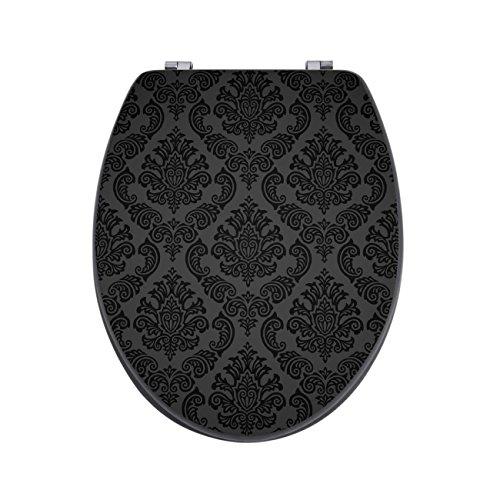 banjado Design Toilettensitz in Anthrazit | WC-Sitz Holz MDF 42,3×3,5×37,5cm | Klodeckel mit Edelstahl Scharnieren | Toilettendeckel mit Motiv Black Deluxe