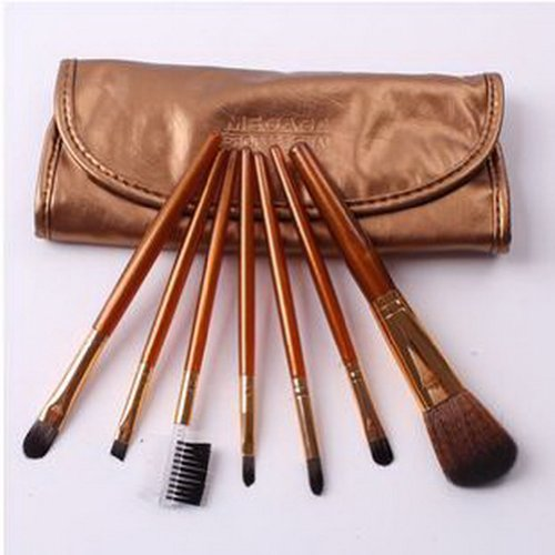 Ensemble de 7 MEGAGA Maquillage Brush personnes Nylon brosses à cheveux GOLD
