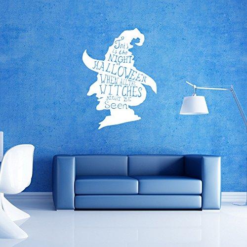 (EgBert Hallowen Hexe Kopf Schaufenster Glas Fenster Dekor Wandaufkleber Party House Home Decoration Kreative Aufkleber DIY Wandbild Wand Kunst Aufkleber - Weiß)