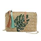 Mitlfuny handbemalte Ledertasche, Schultertasche, Geschenk, Handgefertigte Tasche,Art- und Weisedamen-Quasten-Ananas-Blätter gesponnene wilde Kuriertasche-Umhängetasche