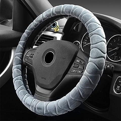 Eclear universel de voiture en peluche Hiver chaud Housse de volant antidérapant de 38,1cm/38cm Auto Truck SUV Frein à main Coussin protecteur