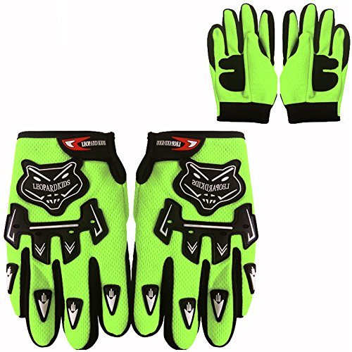 Leopard Kids Motocross Motorbike Gloves Fluo Green M