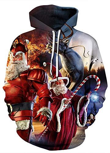 AMOMA Damen Weihnachten Hoodie Halloween Sweatshirt 3D Digitaldruck Kapuzenpullover(S/M,Christmas Santa Claus)