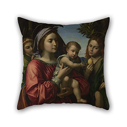 Oil Painting Paolo Morando - The Virgin And Child, Saint John The Baptist And An Angel Throw Pillow Case 18 X 18 Inches / 45 By 45 Cm For Wedding,outdoor,seat,gf,dining Room,kids Boys With Twin Sides