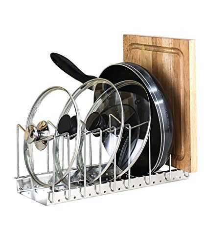 Ohuhu Stainless Steel Pan Rack Pot Lid Holder - Adjustable Bakeware Cookware Drying Rack Kitchen Cabinet Pantry and Countertop Organizer