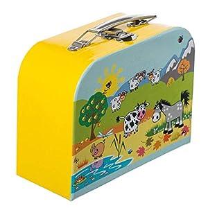 Bieco Kinderkoffer Tiermotiv, 15x20cm | Kinderkoffer Pappe | Köfferchen | Kinder Spielkoffer | Miniatur Koffer | Metallgriffe | Geschenk | Kinderkoffer Spielzeug | Reise Koffer | Koffer Mini