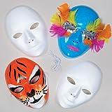 Baker Ross Caretas Máscaras Blancas de Plástico para Pintar y Decorar. Manualidades Perfectas para Fiestas de Disfraces Infantiles (Pack de 6)