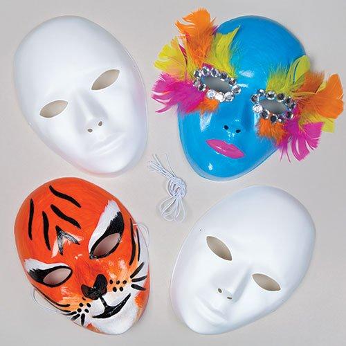 Baker ross maschere in plastica bianca per bambini da dipingere e decorare (confezione da 6)
