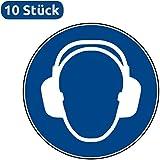 10 Aufkleber Gehörschutz benutzen - Gehörschutz benutzen Aufkleber (10 Stück) vorgestanzt für Innen & Außen mit UV-Lack, witterungsbeständig, selbstklebend, Gehörschutz benutzen Schild überkleben, Gehörschutz benutzen Gebotszeichen Warnzeichen Gehörschutz benutzen Ohrenschutz-Aufkleber von Aufklebo M003 Aufkleber Arbeitsschutz