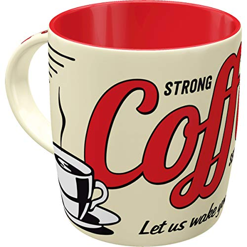 Nostalgic-Art 43022 Retro Kaffee-Becher Strong Coffee, Große Tasse mit tollem Kaffee-Motiv, Geschenk-Idee für Vintage-Liebhaber, 330 ml Vintage Coffee Cups