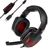 TeckNet HS800 Casque Arceau Gamer; Ecouteur Stéréo Pro; Son Surround 7.1 Vibration avec Micro Microphone Antibruit pour Jeux PC Gaming