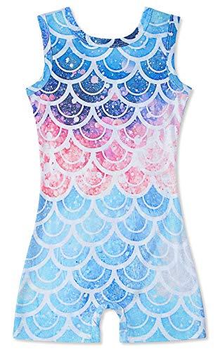 Idgreatim Coole Pailletten Meerjungfrau gedruckt Gymnastik Trikots mit kurzen für Mädchen Sommer schöne Einteilige Tanz Ganzanzug Outfits für Jugendliche 6-7 t blau und lila