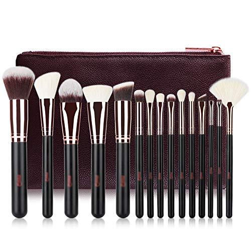 Ensemble de 15 pinceaux de Maquillage Professionnels à Poils denses Soyeux synthétiques et naturels de chèvre Fondation Blush Lip Brushes avec Sac de Voyage en Cuir