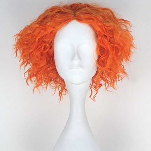 Miss U Hair Men's Short Curly Hair Mad Hatter Yellow Red Party Cosplay lolita Wig (Orange) by miss u (Miss Mad Hatter)