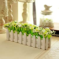 Simulación NabothT Flor 30cm valla de madera características macetas rosas flores artificiales emulación creativa cestas de
