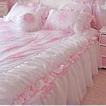 diaidi rose romantique rose motif floral avec dentelle queen ensemble housse de couette pour lit - Housse De Couette Romantique Rose
