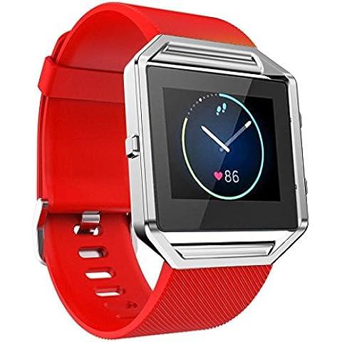 For Fitbit Blaze ,Transer® Correa suave banda reloj de pulsera de silicona para el Fitbit Blaze reloj Smart Watch (rojo)