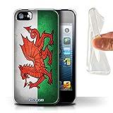 Stuff4 Coque Gel TPU de Coque pour Apple iPhone 5/5S / Pays de Galles/Gallois...