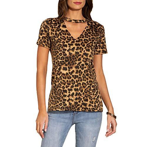Oksea Damen Ärmellose Druck Bluse T Shirt mit Leopardenmuster Mode V Ausschnitt Kurzarm Shirt T-Shirt mit Leoparden Print ()