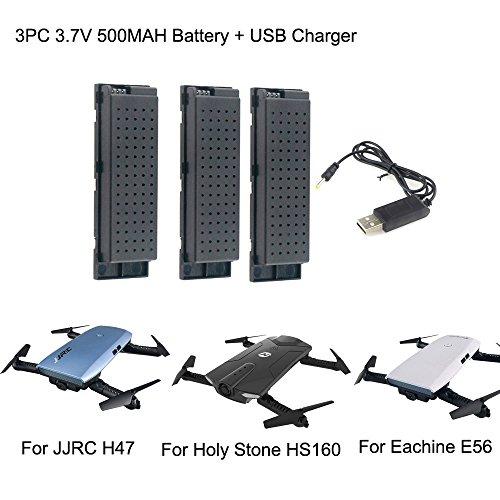 Dapei 3Pcs Drohne Batterie 3,7V 500mAh + USB Charging Line kompatible mit Eachine E56 JJRC H47 Holy Stone HS160 RC Quadcopter Lipo Akku für RC Hubschrauber Intelligente Flugbatterie