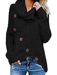 Yidarton Pullover Damen Warm Asymmetrische Strickpullover Rollkragenpullover Solid Wrap Gestrickt Langarmshirts Oberteile Causal